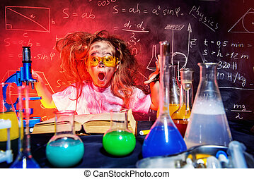 girl in a laboratory