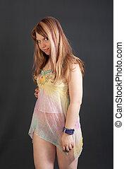 girl in a light shirt