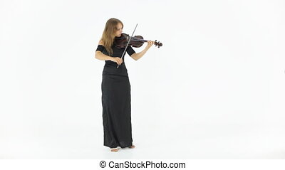 Girl in a long black dress playing the violin