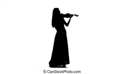 Girl in a long dress playing the fiddle. Silhouette on white background. Slow motion