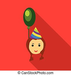 Girl in a party hat with green balloon icon