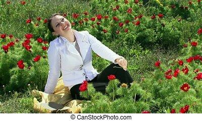 Girl In A Peony Field
