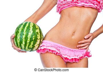 girl in a pink bikini,  watermelon