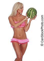 girl in a pink bikini