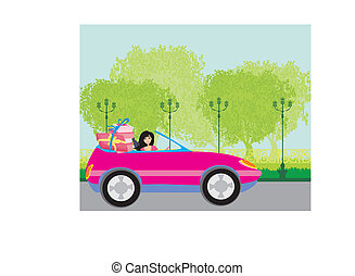 Girl in a pink convertible with gifts