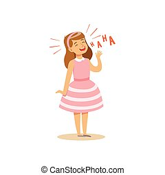 Girl in a pink dress laughing out loud colorful character vector Illustration