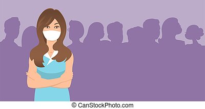 Girl in a protective mask among people.