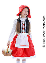 Girl in a red cap with a basket