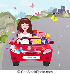 Girl in a red convertible with gifts