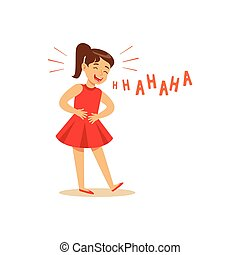 Girl in a red dress laughing out loud and holding her stomach colorful character vector Illustration