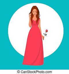 Girl in a red dress with a rose in her hand.