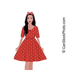 Girl in a red dress with polka dot pattern