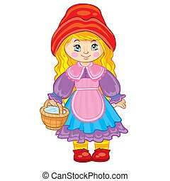 girl in a red hat and a basket in her hands, little red riding hood, fairy tale character, cartoon illustration, isolated object on a white background, vector illustration,