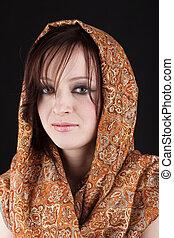 Girl in a scarf portrait