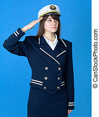 Girl in a sea uniform salutes