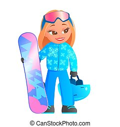 Girl in a ski resort with a snowboard.