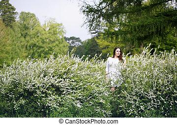 girl in a spirea bush
