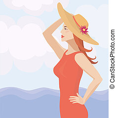 girl in a straw hat