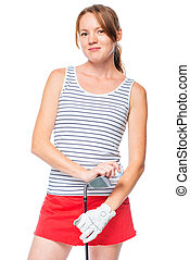 Girl in a striped T-shirt posing with a golf club on white background