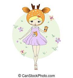 Girl in a suit of deer - Cute little girl in a suit of deer...