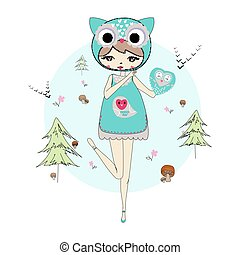 Girl in a suit of owl - Cute little girl in a suit of own...