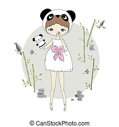 Girl in a suit of panda - Cute little girl in a suit of...