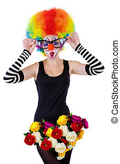 girl in a suit of the clown isolated on a white background