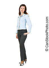 girl in a suit on a white background