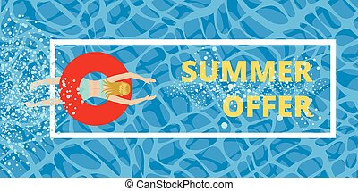 Girl in a swimsuit swims with an inflatable circle. Flyer design discounts. Summer offer in the frame.