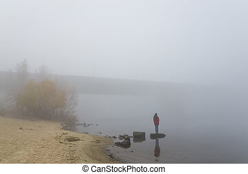Girl in a very thick fog