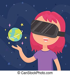 Girl in a virtual reality glasses.