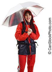 Girl in a waterproof suit
