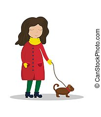 Girl in a winter coat walking with a dog. Flat winter vector illustration.