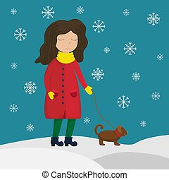 Girl in a winter coat walking with a dog. Flat winter vector illustration. Snowflakes.