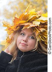girl in a wreath closeup