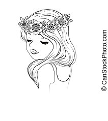 girl in a wreath - the beautiful girl in a wreath, with...
