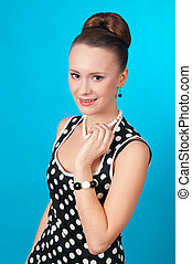 pin-up girl on blue background