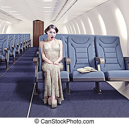 girl in an airplane