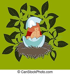 Girl in an eggshell in the nest - Girl vector colored vector...
