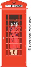 girl in an English phone booth