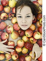 girl in apples