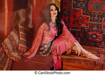 Girl in arabic dancing costume