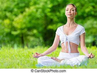 Girl in asana position zen gesturing - Woman with closed...
