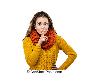 Girl in autumn clothes - Portrait of beautiful girl in ...