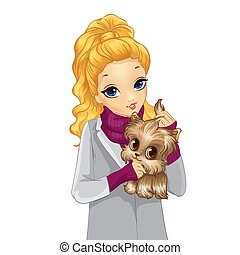 Girl In Autumn Coat Hold Cute Dog