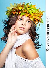 girl in autumn garland
