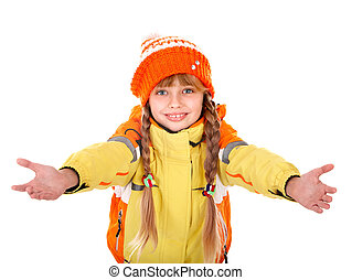 Girl in autumn orange  hat with outstretched arm.