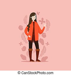 GIRL IN AUTUMN STYLE WITH FLORAL BACKGROUND