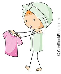 Girl in bathtowel holding pink shirt