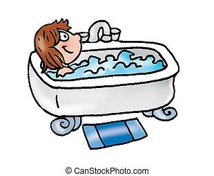girl in bathtub, wash